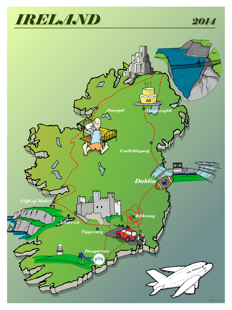 An illustration by Dave created for a friend's Father-Son trip to Ireland